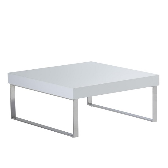 Almara Coffee Table In White High Gloss With Chrome Frame