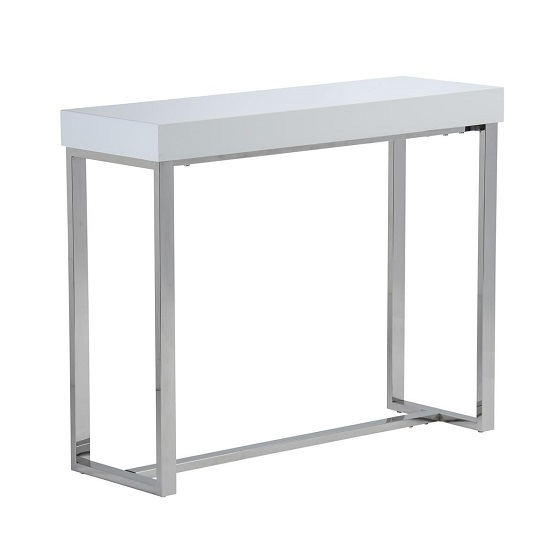 Almara Console Table In White High Gloss With Chrome Frame
