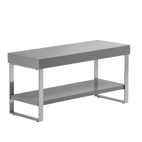 Almara TV Stand In Grey High Gloss With Chrome Frame