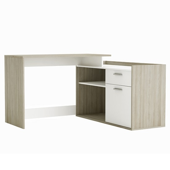 Almeida Corner Computer Desk In Shannon Oak And Pearl White