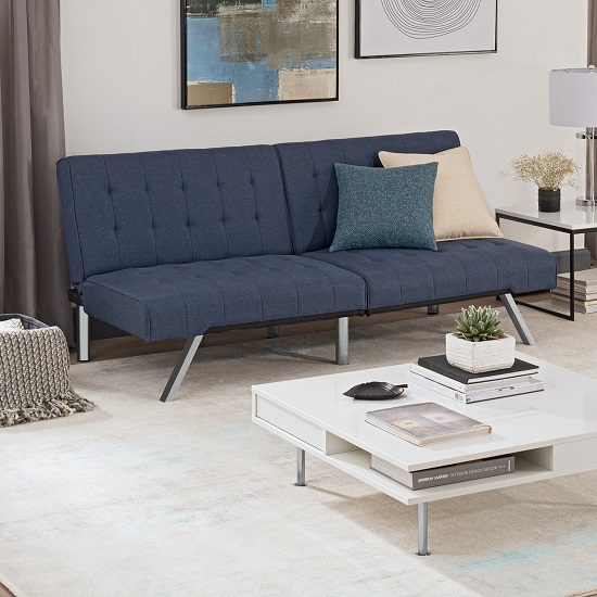 Product photograph showing Almeida Clic Clac Sofa Bed In Navy Blue Linen And Chrome Legs