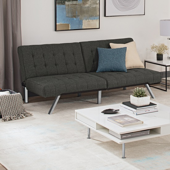 Almeida Clic Clac Sofa Bed In Grey Linen With Chrome Legs_1