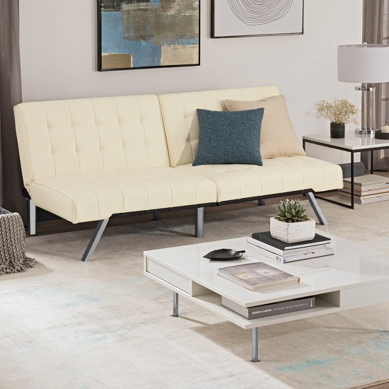 Almeida Sofa Bed In Vanilla Faux Leather With Chrome Legs