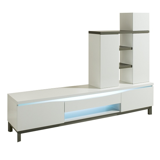 Megan Living Unit In White High Gloss And Grey
