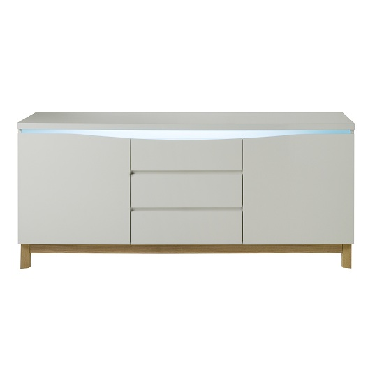 Megan Sideboard In White Gloss With 2 Doors And 3 Drawers