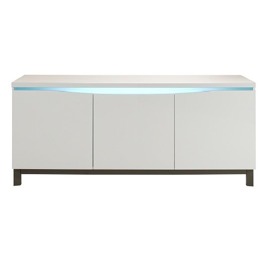 Renoir sideboard in taupe and grey gloss with lights 20765 f for Sideboard taupe