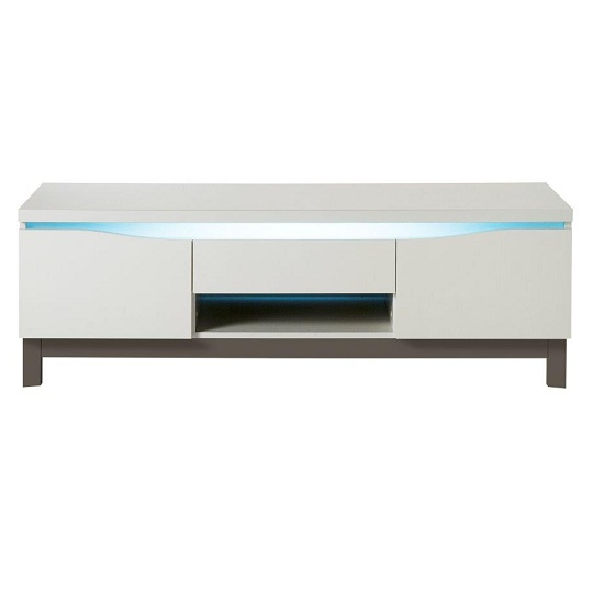 Megan LCD TV Stand In White Gloss With Grey Base