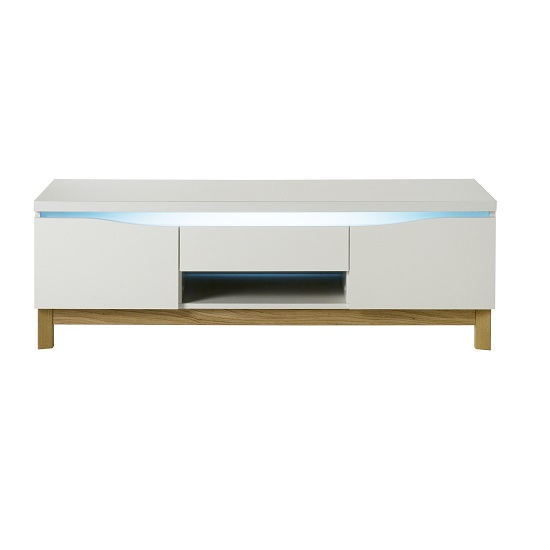 Megan LCD TV Stand In White Gloss With Wooden Base