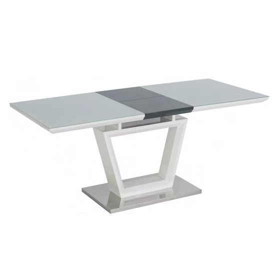Almera Glass Extending Dining Table In White And Grey Gloss