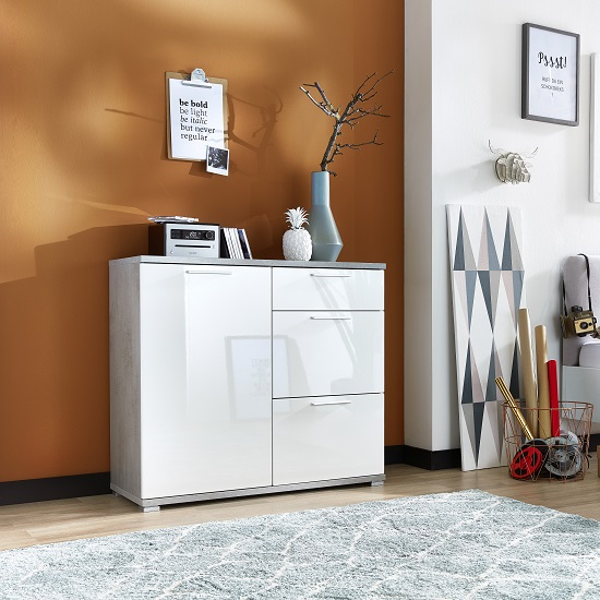 Almera Chest Of Drawers In Concrete Optics And White High Gloss