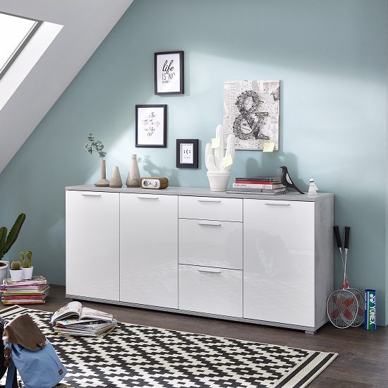 Almera Large Sideboard In Concrete Optics And White High Gloss