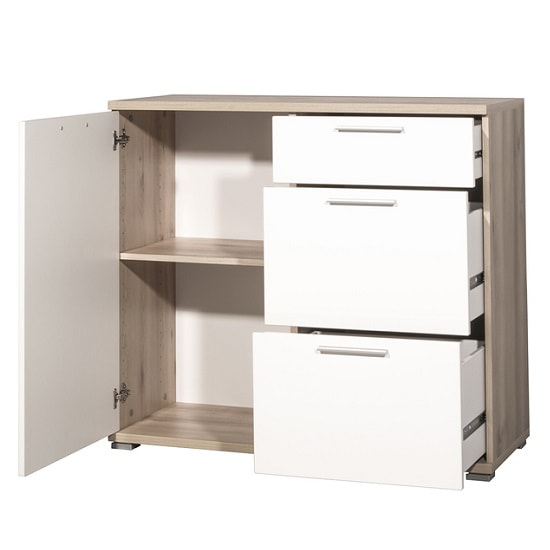 Almera Chest Of Drawers In Noble Beech And White High Gloss_3