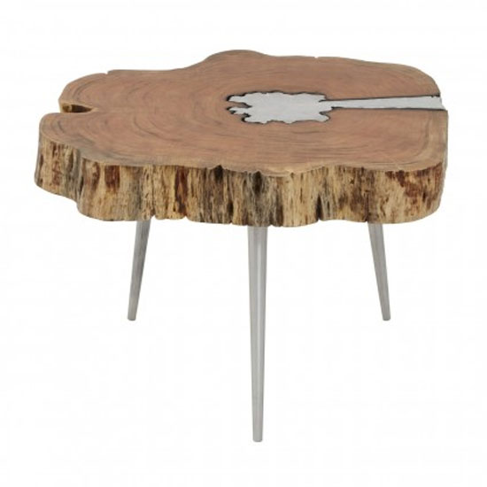 Almory Wooden Coffee Table In Natural And Silver