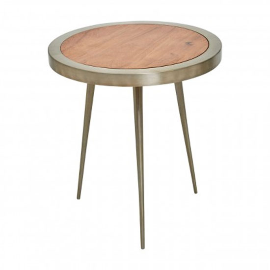 Almory Wooden Round Large Coffee Table In Natural And Gold