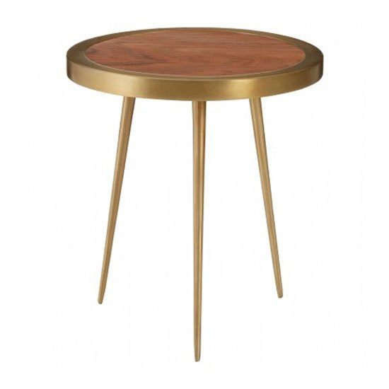 Almory Wooden Round Side Table In Natural And Gold