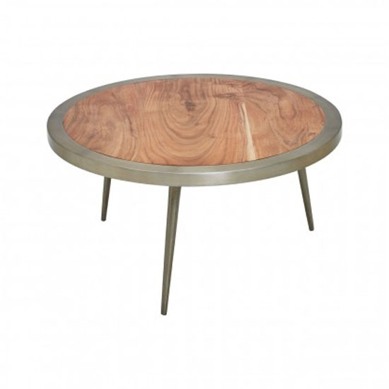 Almory Wooden Round Wide Coffee Table In Natural And Gold_2