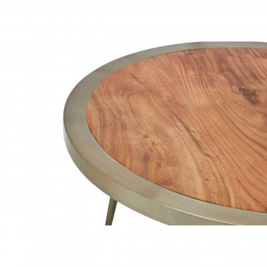 Almory Wooden Round Wide Coffee Table In Natural And Gold_3
