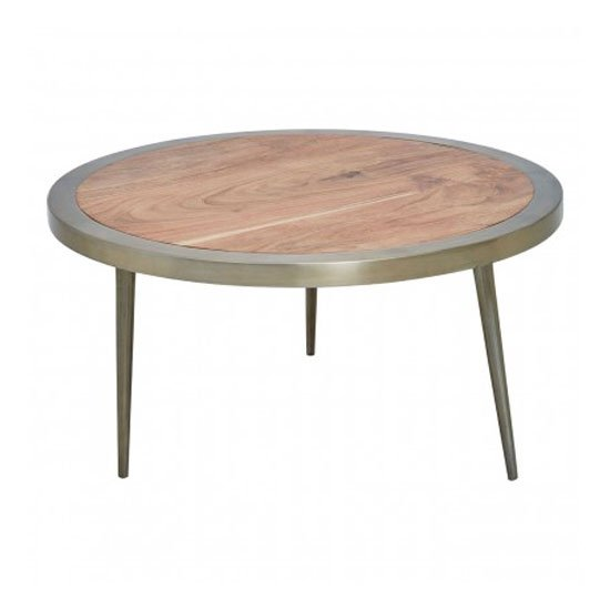 Almory Wooden Round Wide Coffee Table In Natural And Gold_1