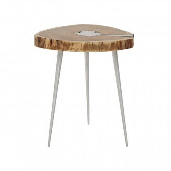 Almory Wooden Side Table In Natural And Silver