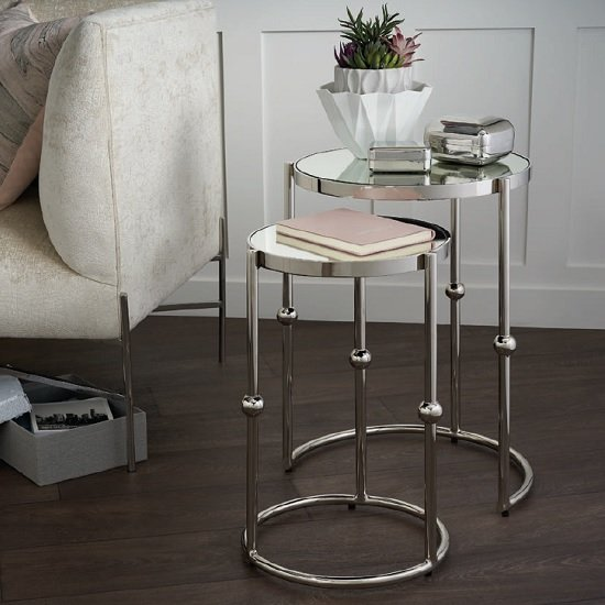 Alonga Mirrored Top Nesting Tables With Nickel Finish Frame