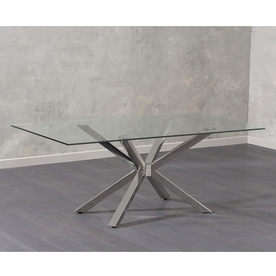 Alonso Glass Dining Table In Clear With Chrome Legs