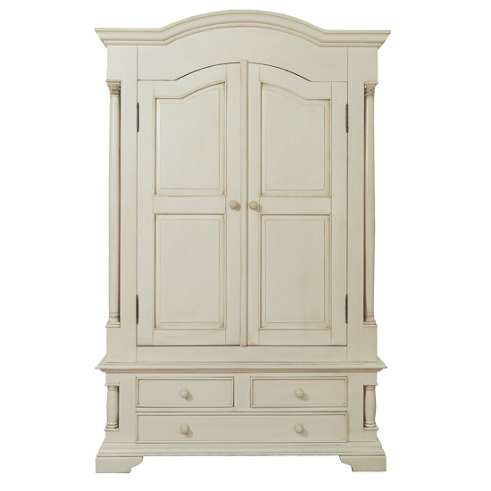Alonzo Wardrobe In Antique White With 2 Doors And 3 Drawers