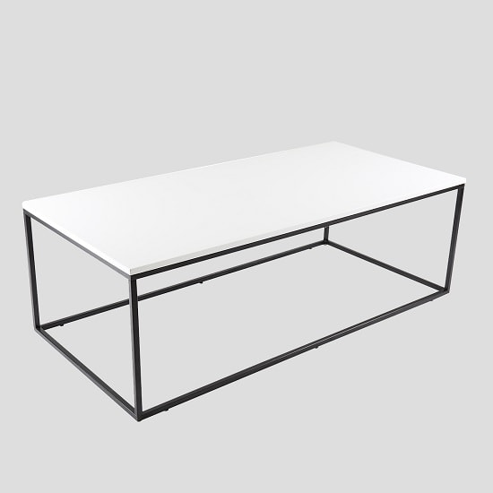 Alpen Coffee Table In White High Gloss With Black Metal Frame