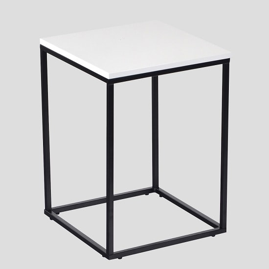 Alpen Side Table In White High Gloss With Black Metal Frame_1