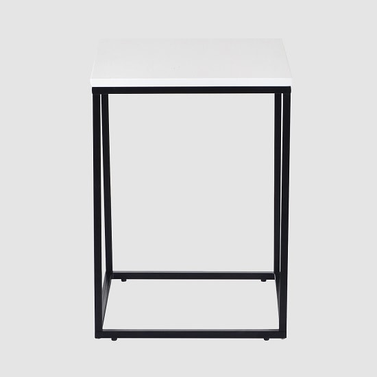 Alpen Side Table In White High Gloss With Black Metal Frame_2