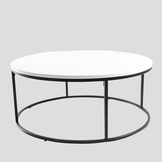 Alpen Coffee Table Round In White High Gloss Black Metal Frame_2