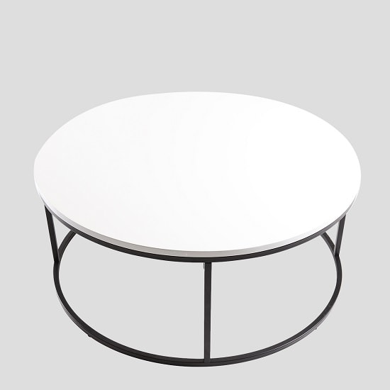 Alpen Coffee Table Round In White High Gloss Black Metal Frame_3
