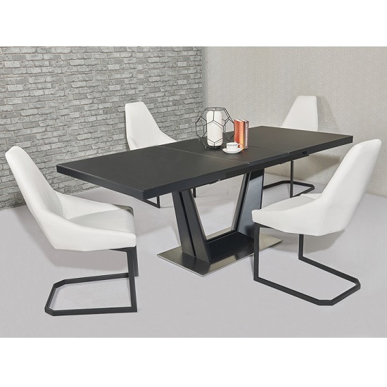 Alpena Extending Dining Table In Black With Six Avanti Chairs