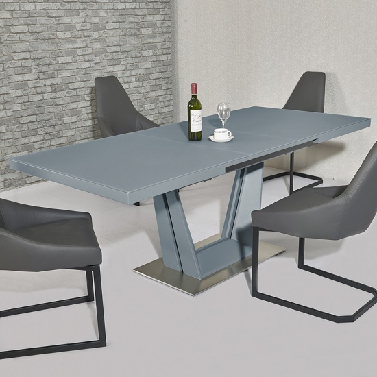 Alpena Glass Extending Dining Table In Grey With Steel Base