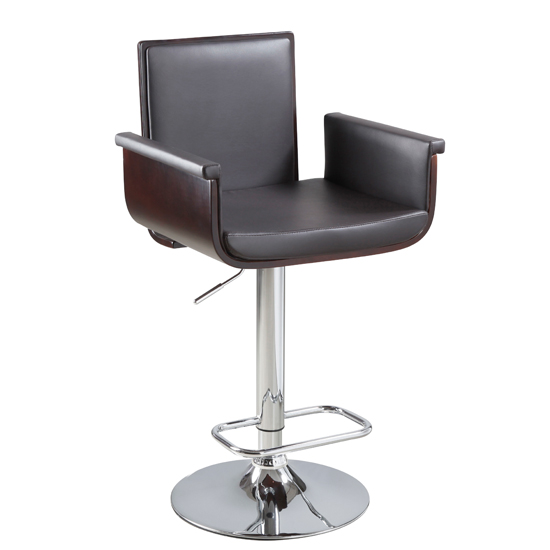 Alpha Brown Faux Leather Gas Lift Bar Stool
