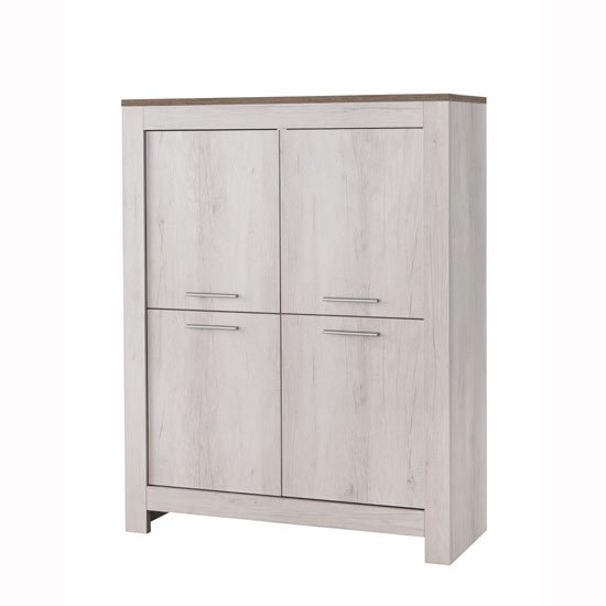 Alpina Modern Bar Unit In White Oak With Distressed Effect Top_1