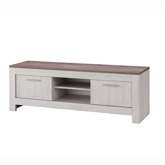 Alpina Medium TV Stand In Oak With Distressed Effect Top