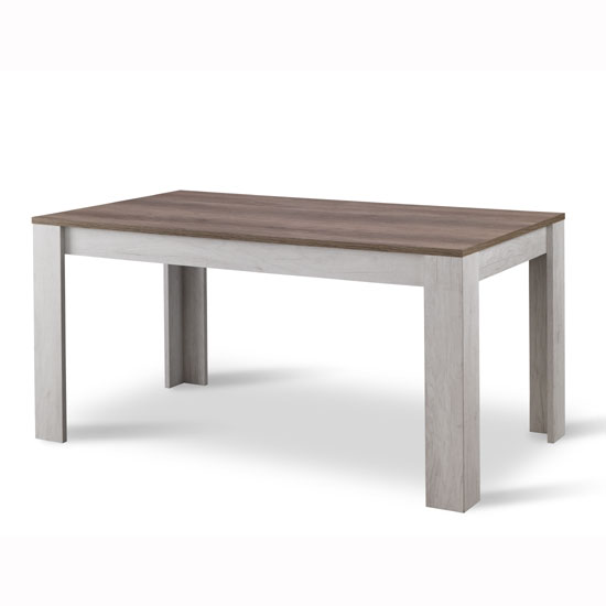 Alpina Dining Table Rectangular In Oak And Distressed Effect Top