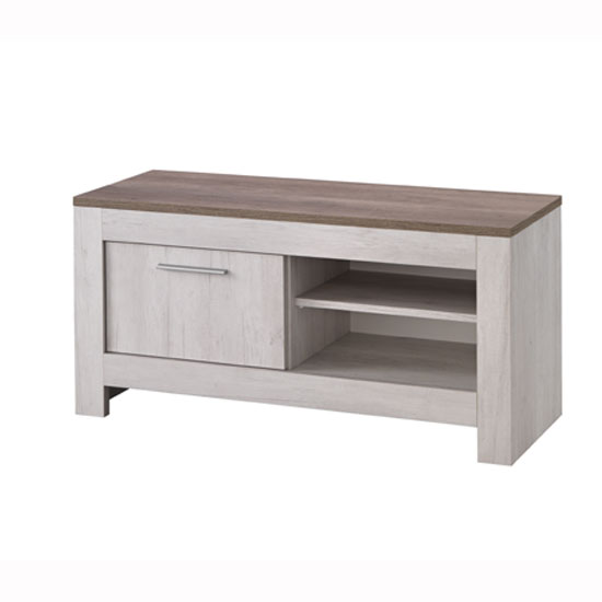 Alpina Small TV Stand In Oak With Distressed Effect Top