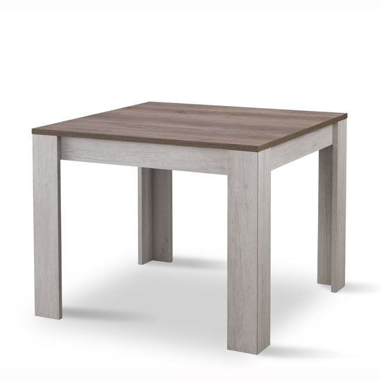Alpina Dining Table Square In Oak With Distressed Effect Top