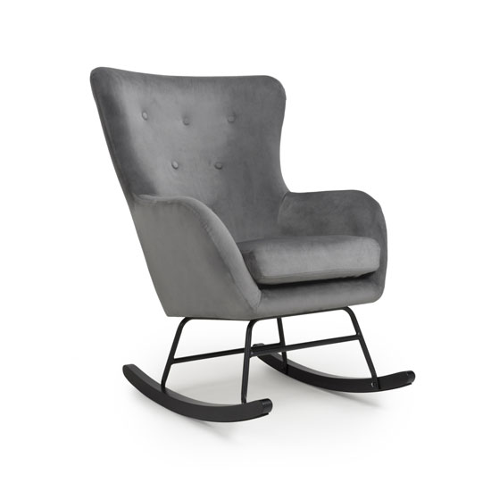 Product photograph showing Alpine Brushed Velvet Rocking Chair In Grey