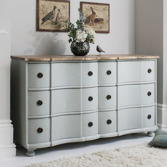 Alpine Wooden Sideboard In Blue And Grey With 6 Drawers