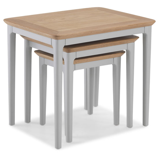 Hematic Wooden Set Of 3 Nesting Tables In Solid Oak And Grey