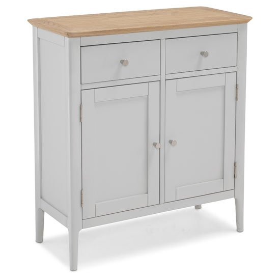 View Hematic wooden small sideboard in solid oak and grey