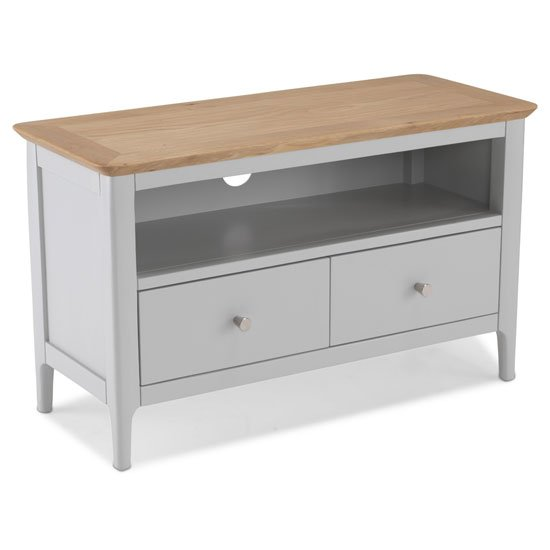 Hematic Wooden TV Unit In Solid Oak And Grey