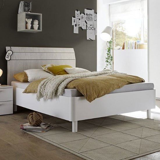 Altair Fabric Small Double Bed In Matt White And Grey