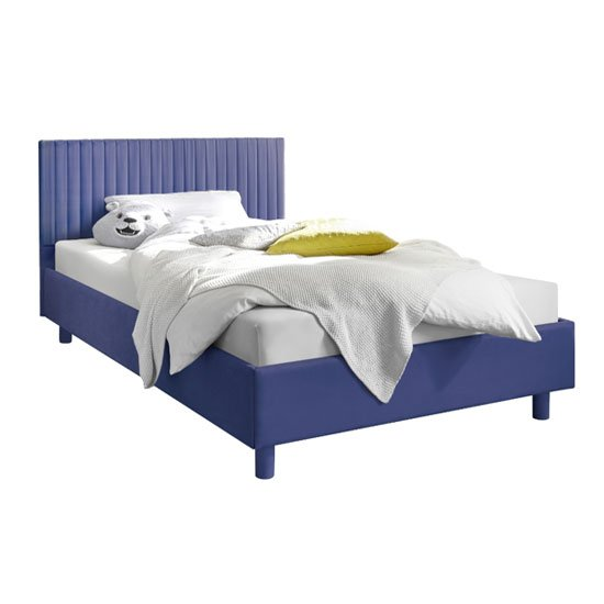 Altair Blue Fabric King Size Bed With Stripes Headboard