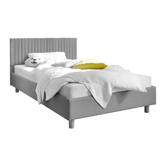 View Altair grey fabric king size bed with stripes headboard