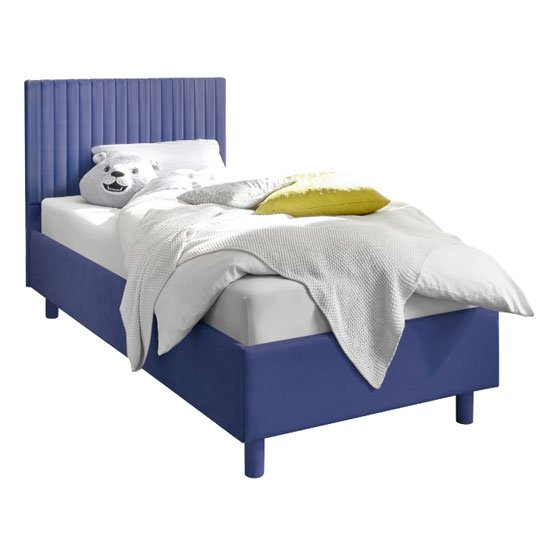 Altair Blue Fabric Single Bed With Stripes Headboard