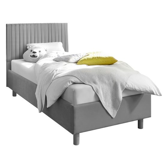 Altair Grey Fabric Single Bed With Stripes Headboard
