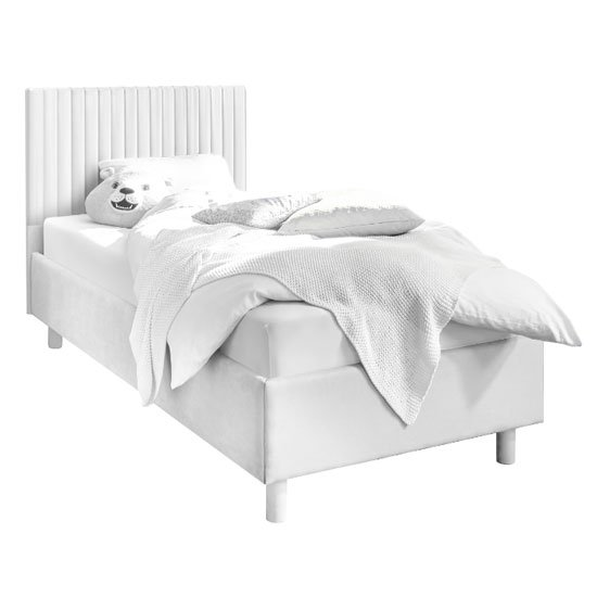 View Altair matt white faux leather single bed with stripes headboard